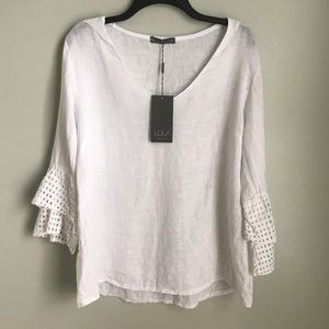 New LOLA Made In Italy White Linen Blouse Lace
